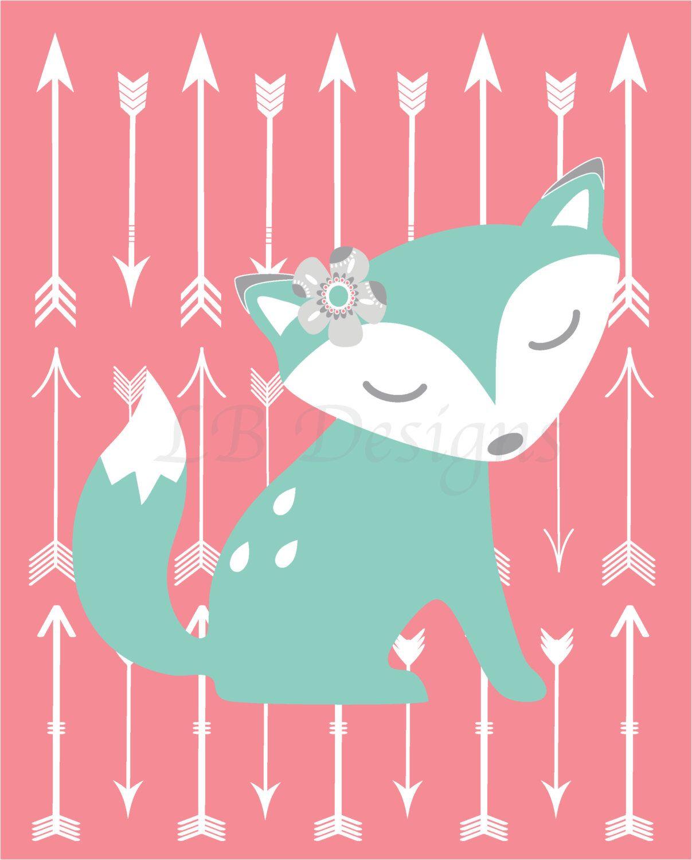 Baby Girl Fox Nursery Print, Boho Nursery Wall Decor, Girl.