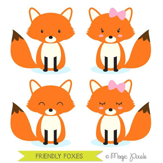 Fox clipart, woodland animals clipart, forest animals clipart, Commercial  Use Clip Art, 4 PNG Images, Instant Download.