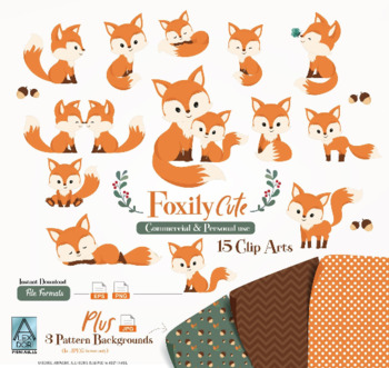 Cute Fox clip art, Baby Fox, Mommy, woodland vector clipart png.
