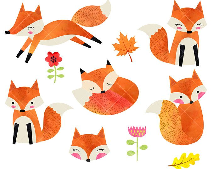 Watercolor Foxes Clipart.