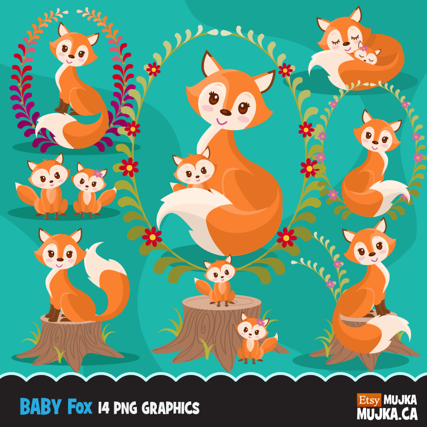 Woodland Fox clipart for Mother's Day.