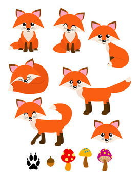 Red Foxes Clipart, Forest Animals, Cute Fox Clipart, Woodland Clipart.