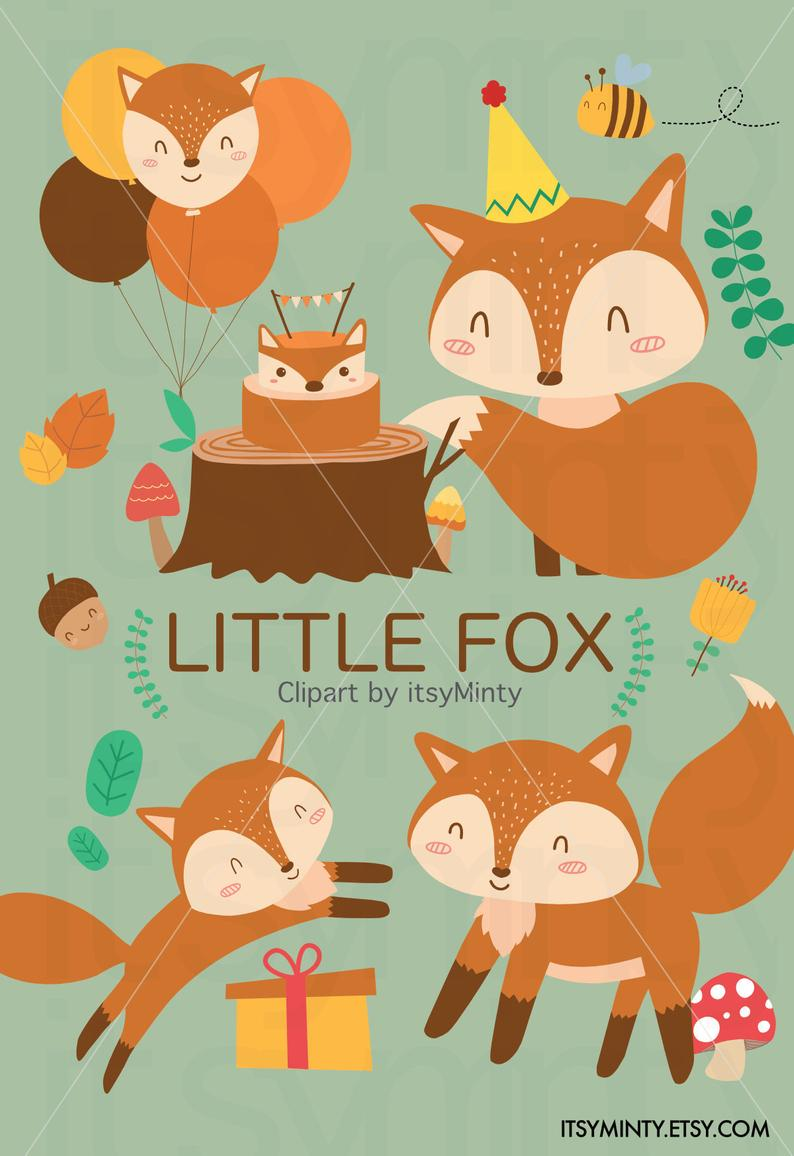 Adorable woodland fox cliparts.