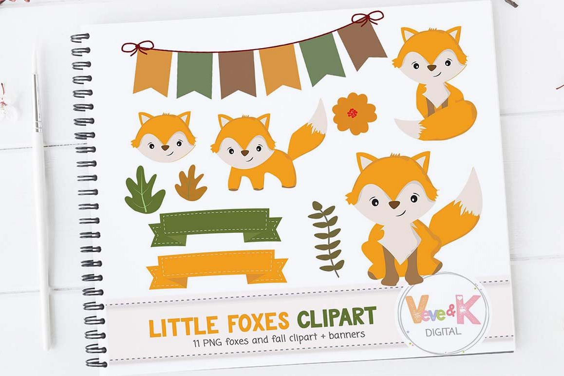 Fox Clip Art, Cute Fox Clipart, Little Foxes Clipart, Forest Creatures,  Forest Critters, Woodland Animals Clipart, Foxes,.