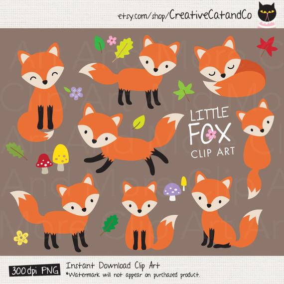 Fox Clipart Baby Fox Clip Art Cute Fox Clipart Forest Animal Woodland Fox  Clipart Little Fox Graphic Cartoon Illustration Cliparts Clip Art.