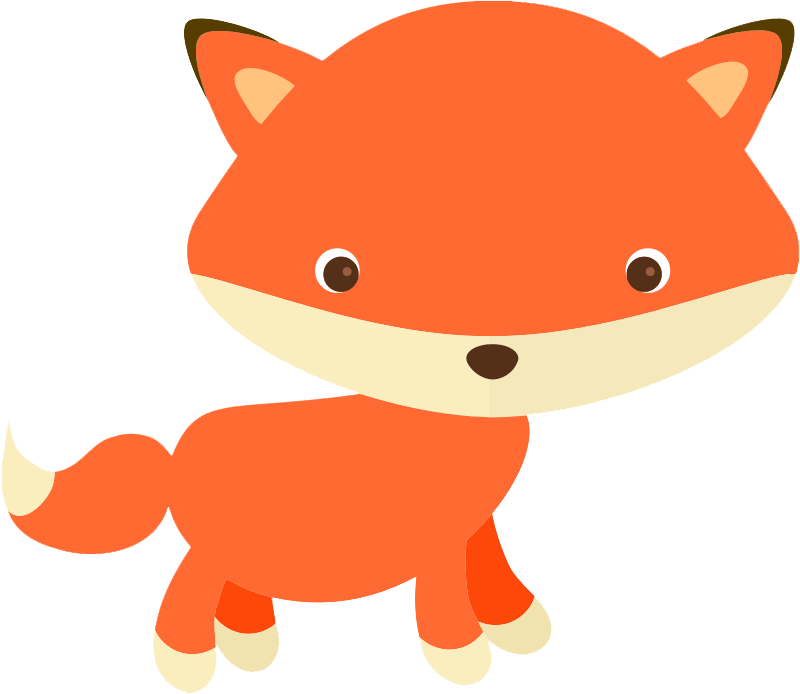 Woodland fox clipart with shapes Transparent pictures on F.