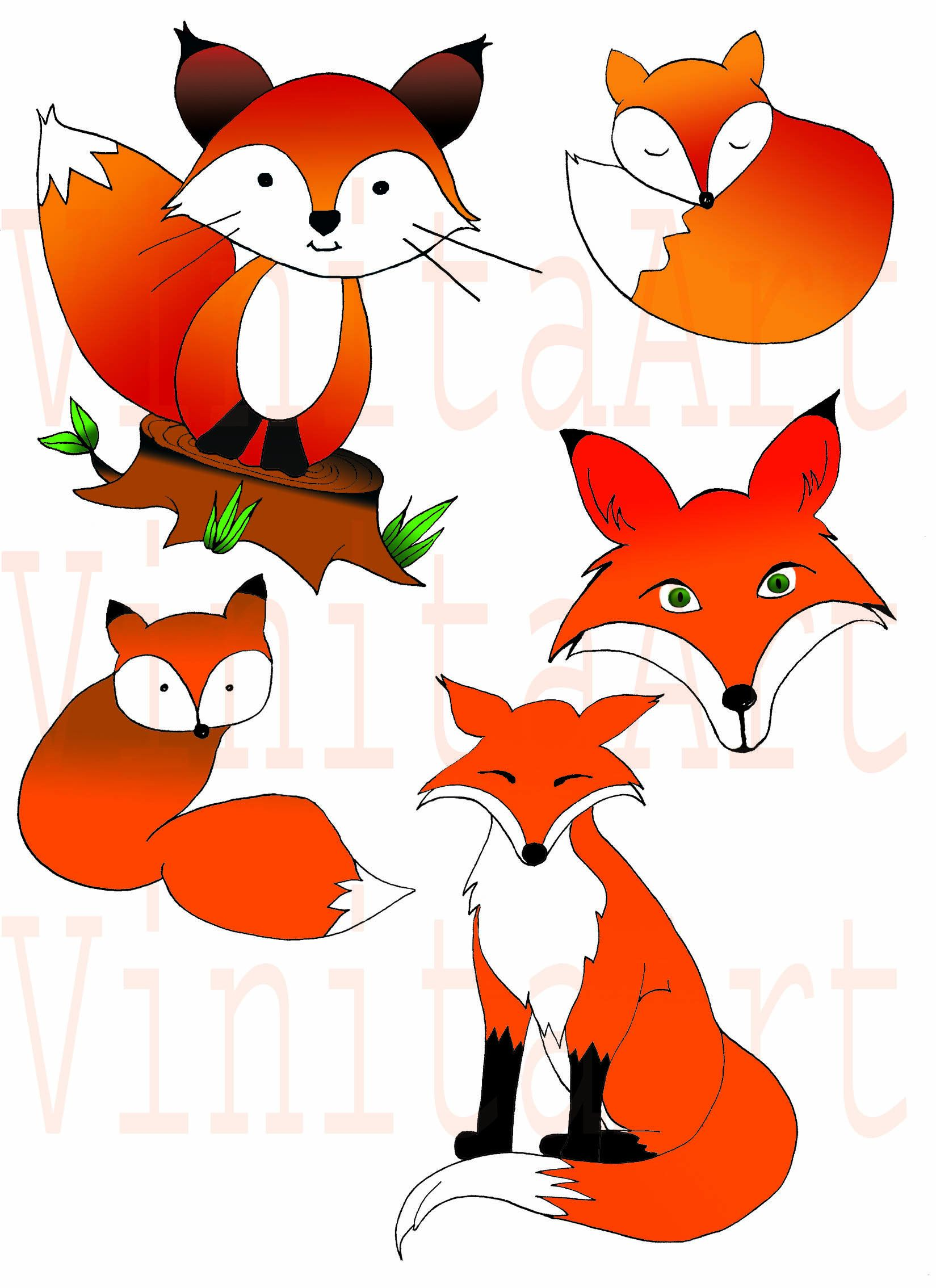 Woodland Fox ClipArt, Fall Clipart, Autumn Clipart, Digital.