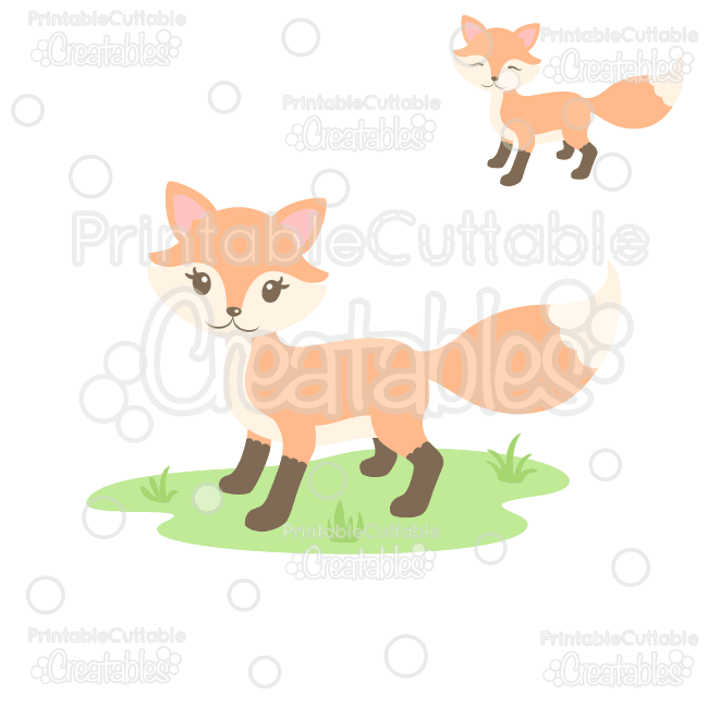 Sweet Woodland Fox SVG Cut File & Clipart for Silhouette.