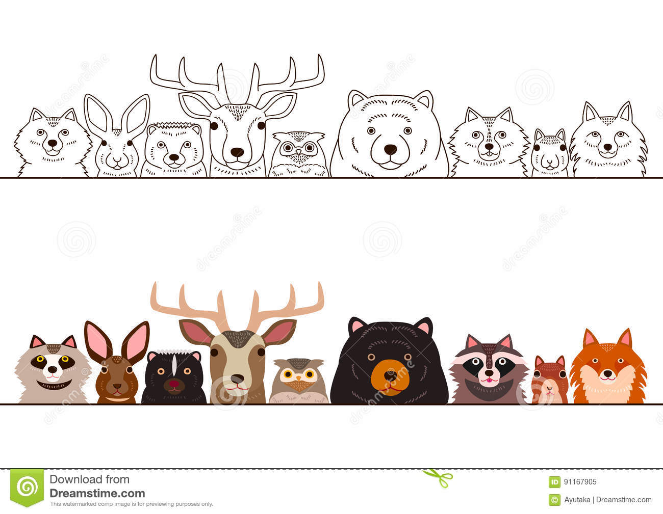 Woodland Animals Border Set Stock Vector.