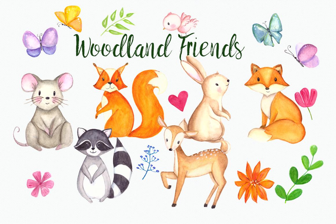 Woodland Friends Watercolor Clip Art Set.
