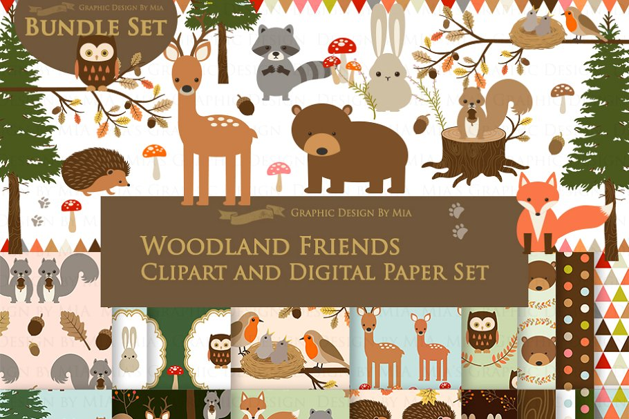 Woodland Friend Clipart+Pattern set.
