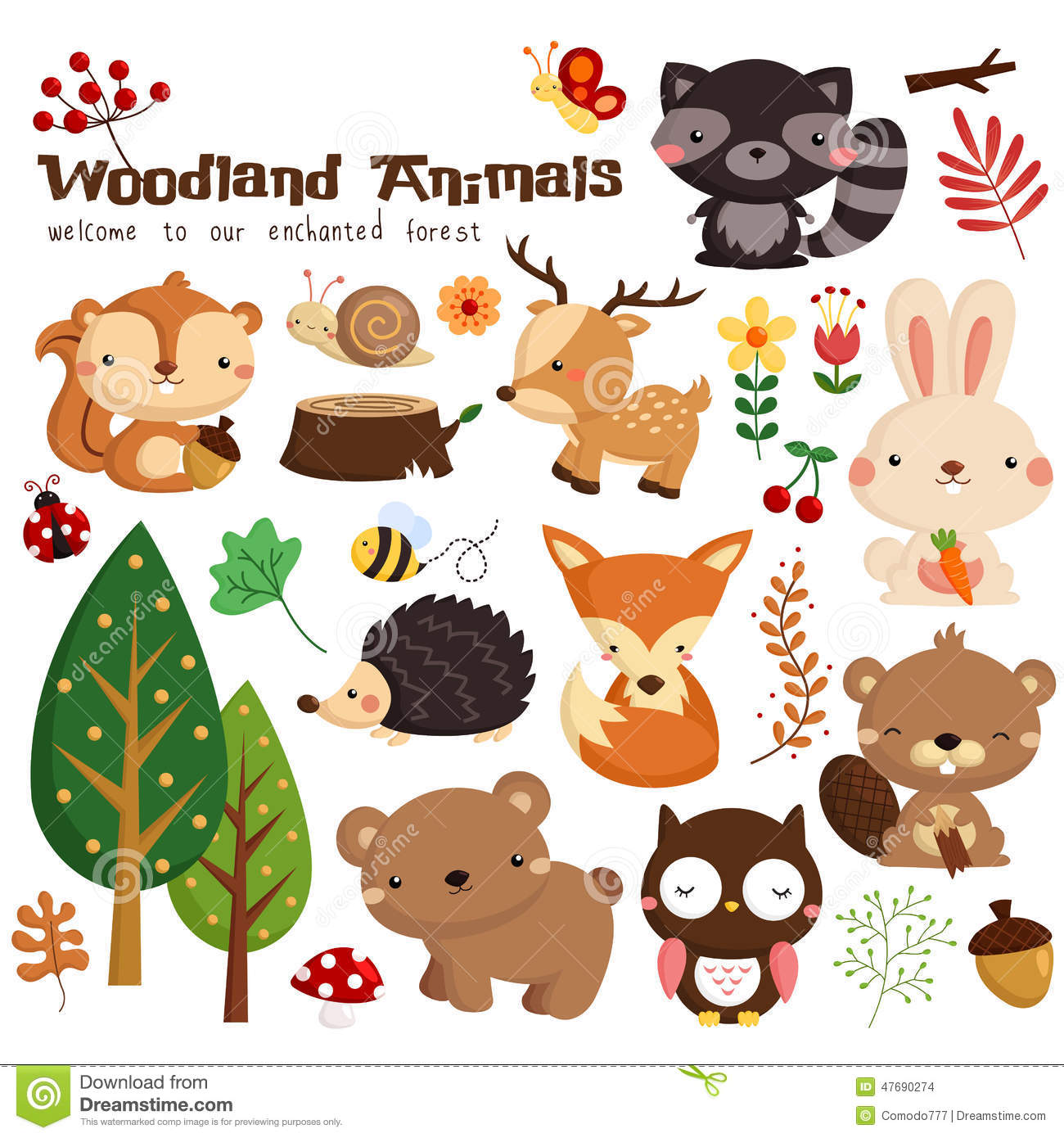 Camping Animals Clipart.