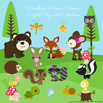Woodland Animal Friends 2 Digital Clipart, clip art collection.
