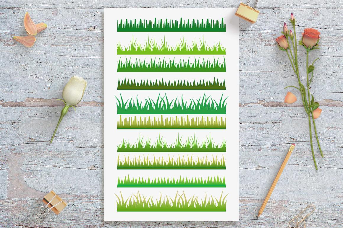 10 Grass Borders Clipart, Grass Divider, Woodlands Clipart.