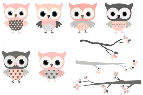 Pink and grey owls set, Cute owl clipart, Kawaii owls clip.