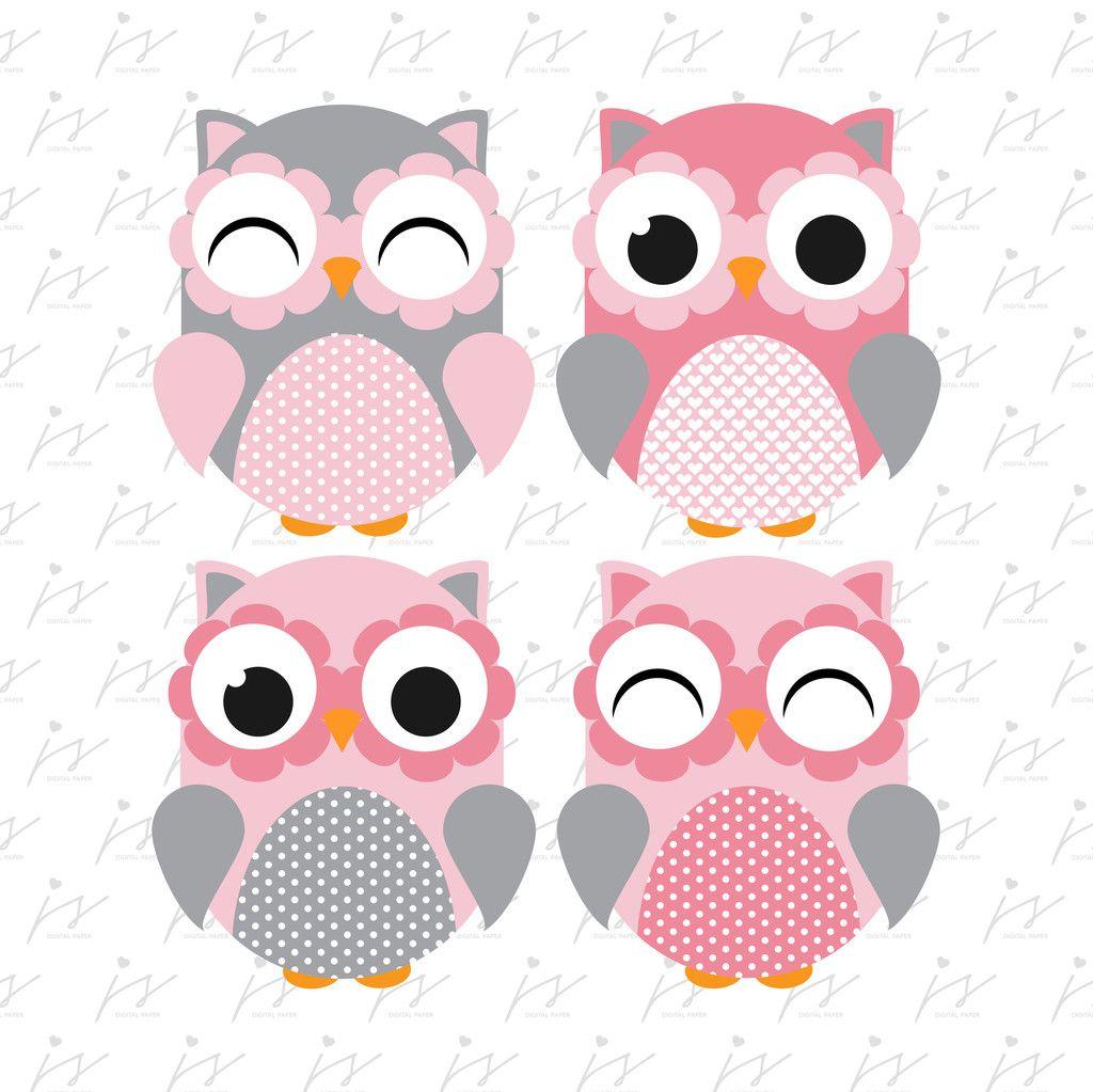 Baby Pink Grey Owl Clipart Graphics Digital Scrapbooking.
