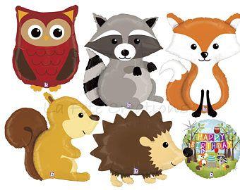 Woodland Animal Balloons Raccoon, Fox, Hedgehog, Owl.