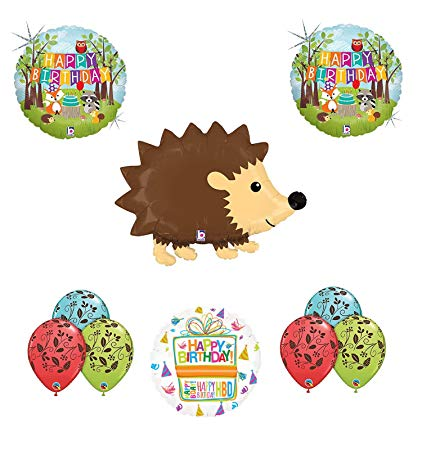 Woodland Creatures Birthday Party Supplies Baby Shower Hedgehog Balloon  Bouquet Decorations.