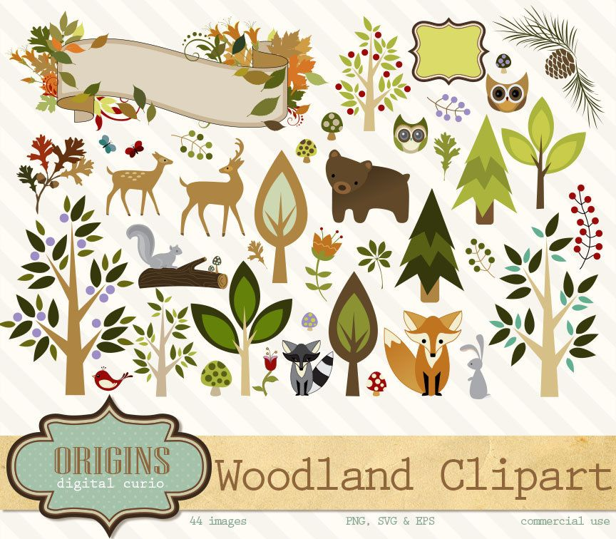 Woodland Forest Animals Clipart, PNG, Vector Clipart.