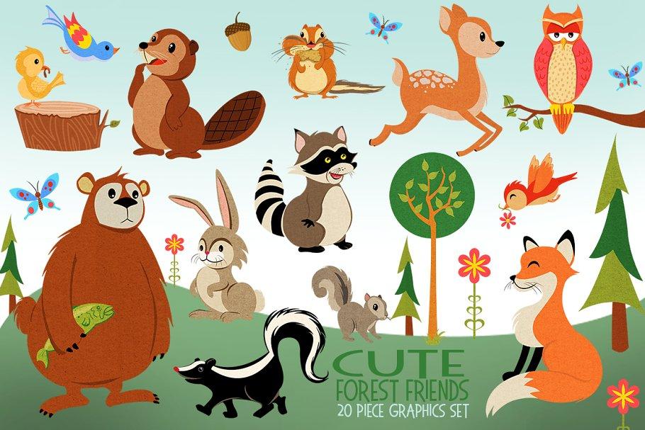 Woodland Animals Illustrated Graphic.