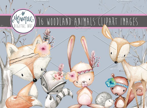 WOODLAND ANIMALS CLIPART WATERCOLOR 1634984.