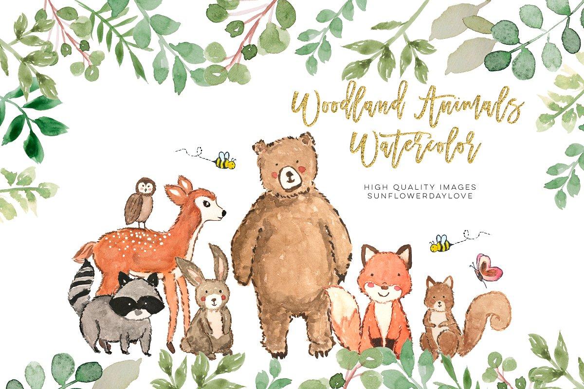 Nursery woodland watercolor clip art ~ Illustrations.