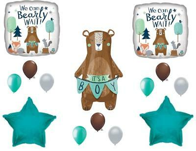 NEW! We Can Bearly Wait Baby It\'s A Boy Shower Balloons Bear Woodland  792273583556.