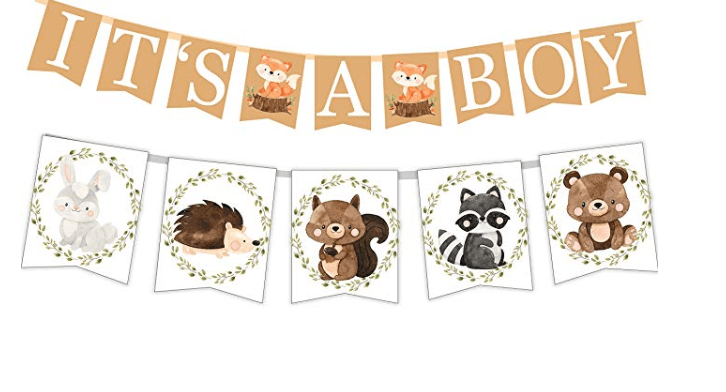 Amazon: Woodland Creatures ITS A BOY Banner for Baby Shower.