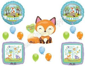 Details about IT\'S A BOY WOODLAND FRIENDS BABY SHOWER Balloons Decoration  Supplies Fox Forest.