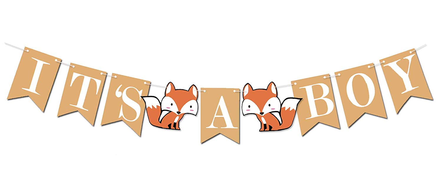 Woodland Creature Fox Banner ITS A BOY for Baby Shower.