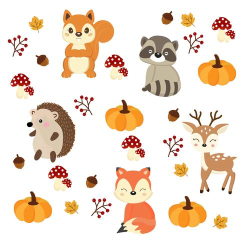 Cute woodland animals with Autumn elements.