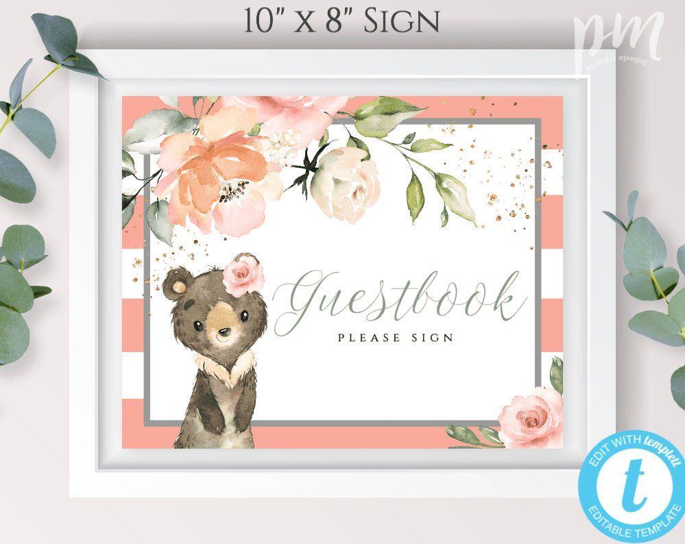 Bear Baby Shower Guestbook Sign Template for Girl, Peach.