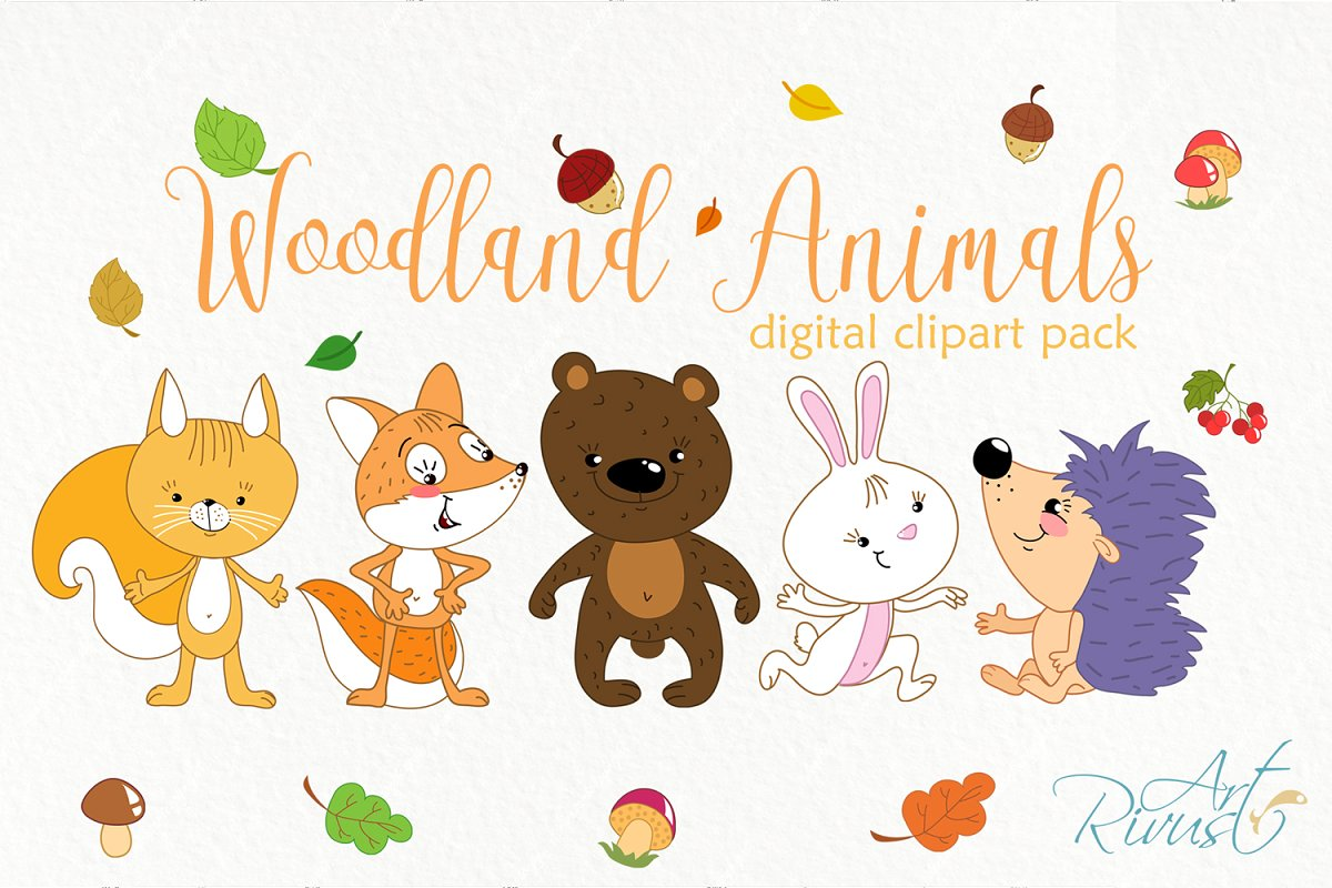Forest friends clipart. Woodland..