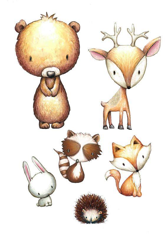 Nursery Woodland Animals Print Watercolor, set of 4, fox.