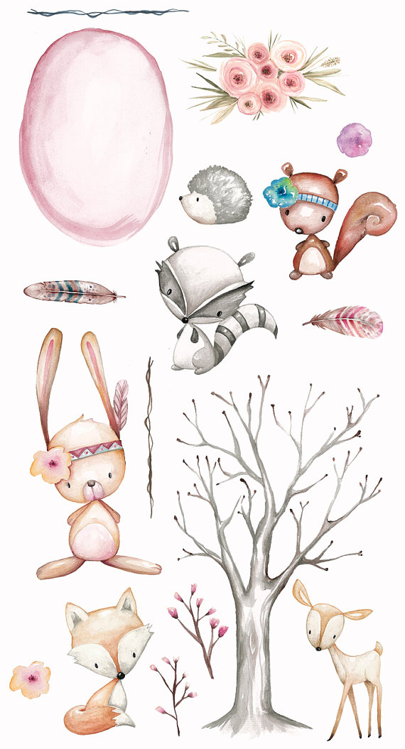 Woodland nursery animals clipart watercolor by.