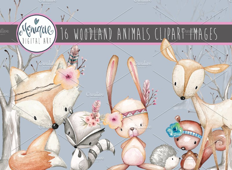 Woodland Animals Clipart Watercolor.