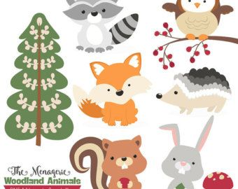 Woodland Nursery Clipart, Baby Animals Clip Art, Forest Friends Baby.
