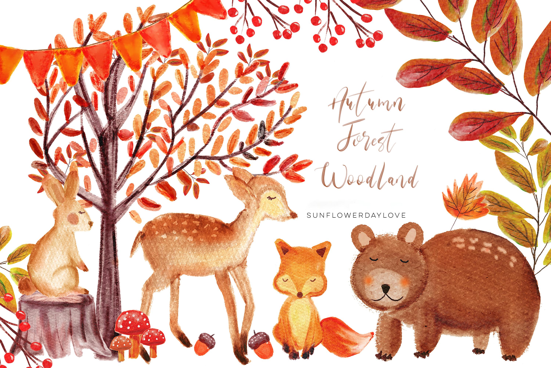 Autumn Forest Woodland clipart, Watercolor Bear deer Clipart, Autumn  Clipart, Woodland Animals Clipart, Cute Nursery Clipart, Fall Clip Art.