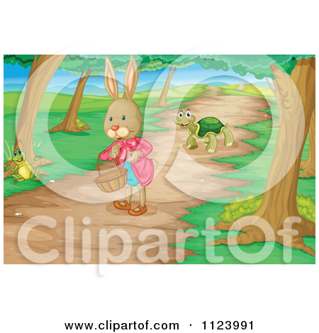 Cartoon Of A Frog Rabbit And Tortoise On A Woodland Path.