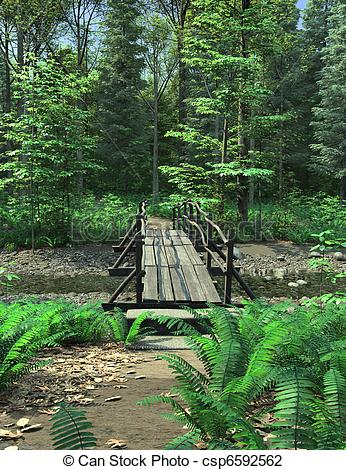 Clip Art of Woodland Path and Bridge.