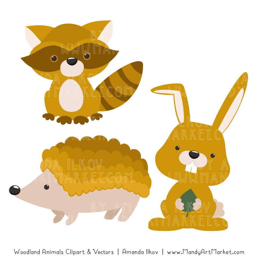 Mustard Woodland Animals Clipart.