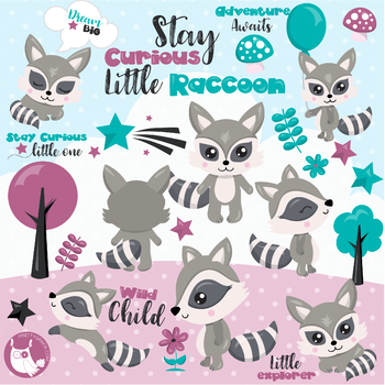 Sale Woodland raccoon clipart commercial use, vector graphics, digital.