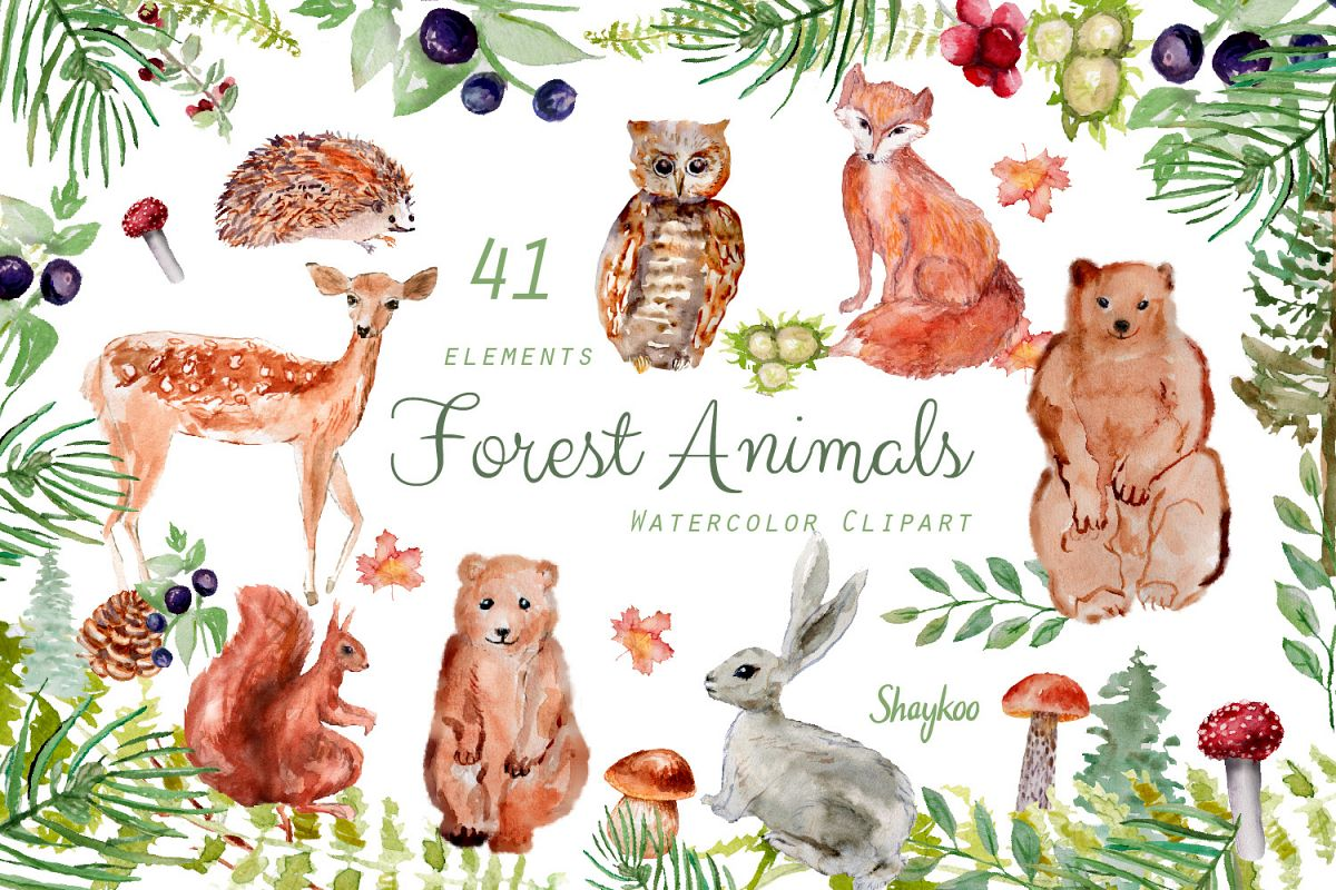 Forest Animals Clipart, Woodland Creatures, Fox, Bear, Owl.
