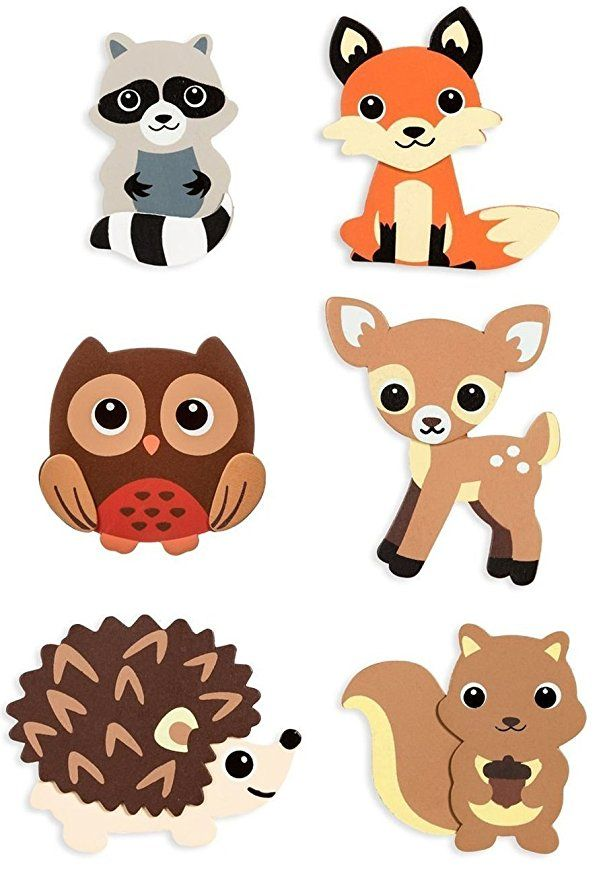 Natural Wood Painted Woodland Creatures Cutouts.