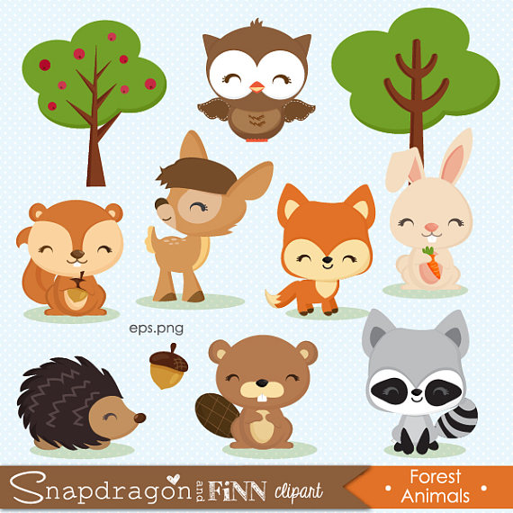 BUY5GET5 Woodland clipart, Forest Animal clipart, Baby Animal.