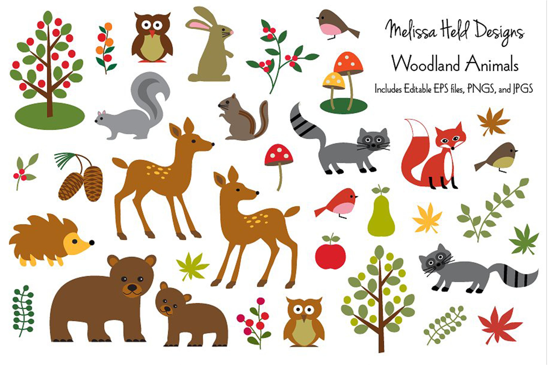 Woodland Animals Clipart Graphics.