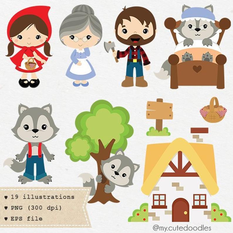 Little Red Riding Hood clipart, Wolf clipart, cute woodland, boy and girl  woodland theme, fairytale clip art.