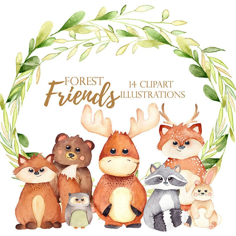 Watercolor woodland clipart, woodland Clipart, Fox Clipart, Woodland Theme,  Watercolor Deer, Rabbit Clipart, Babyshower Clipart, Moose, Owl.