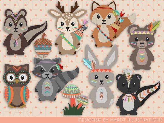Tribal Woodland Animals Clipart, Tribal Animals Clip Art.