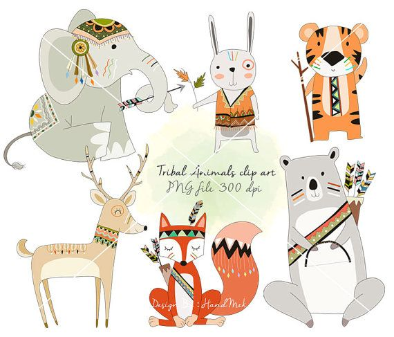 Tribal animals Woodland Clipart Animals clipart by HandMek.